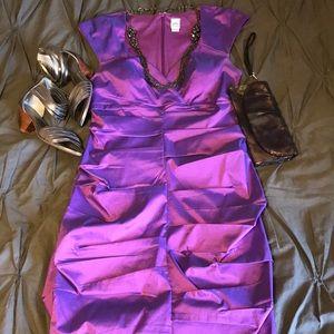 Flattering cap sleeve shiny Sangria cocktail dress